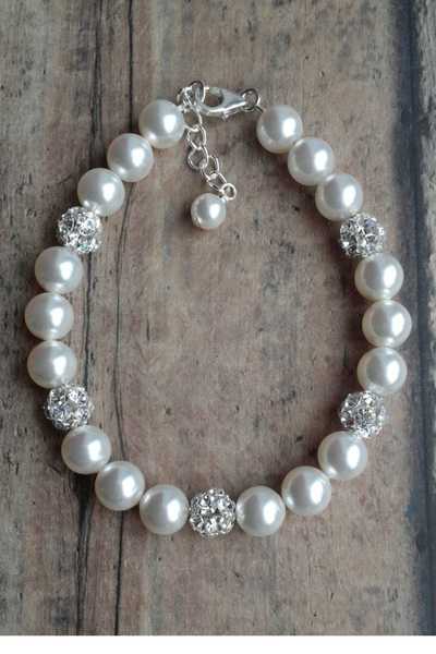 Single Strand Pearl Bracelet for Bridesmaids Gift Idea