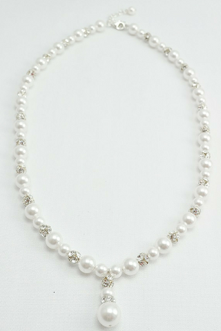 Pearl Drop Necklace For A V-Neck Wedding Dress