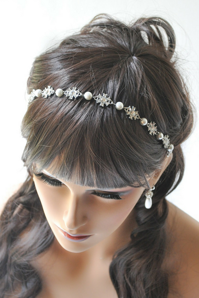 Dakota Headband: Pearl and rhinestone bridal headband