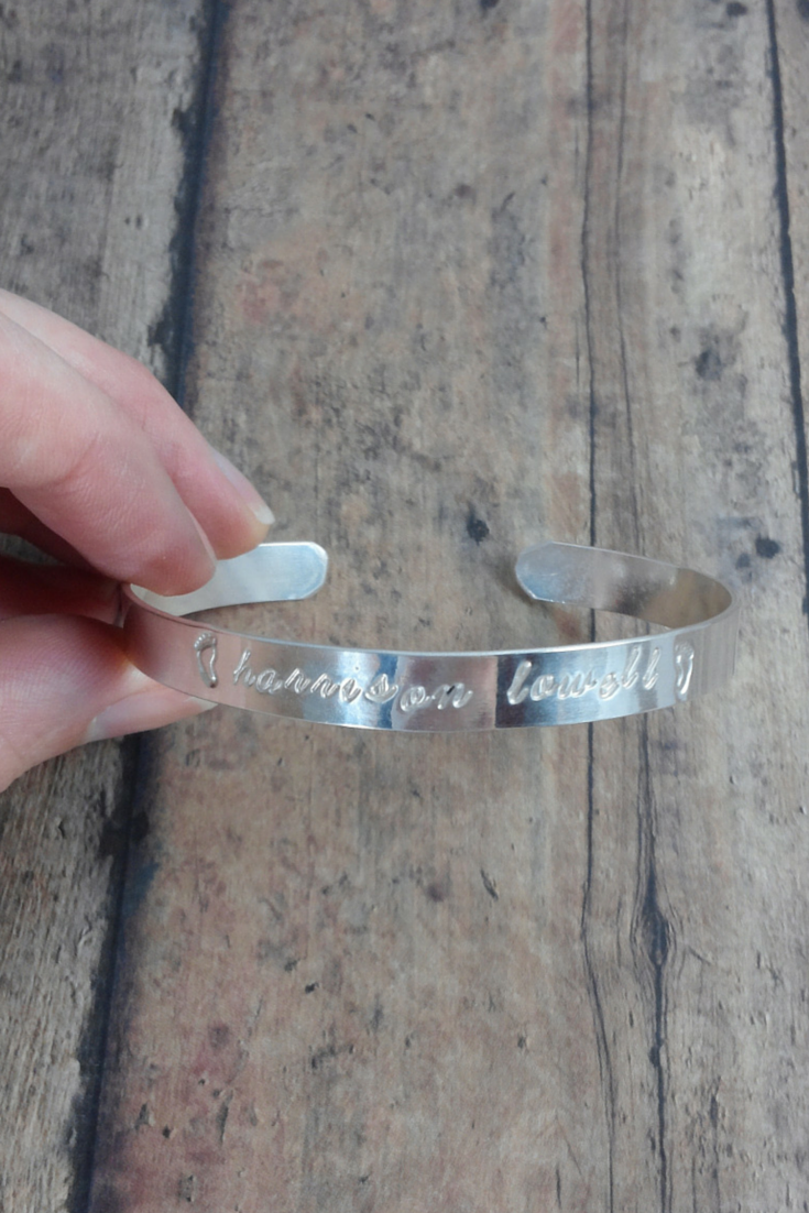 Hand Stamped Personalized Sterling Silver Cuff Bracelet