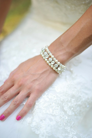 3 Strand Pearl And Rhinestone Cuff Bracelet For Brides