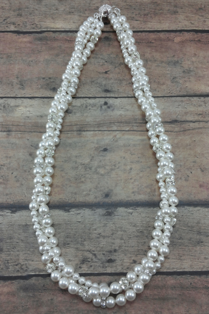 Twisted Pearl Statement Necklace For A Strapless Dress
