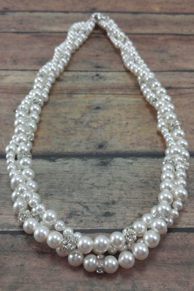 Twisted Pearl Statement Necklace For A Strapless Wedding Dress