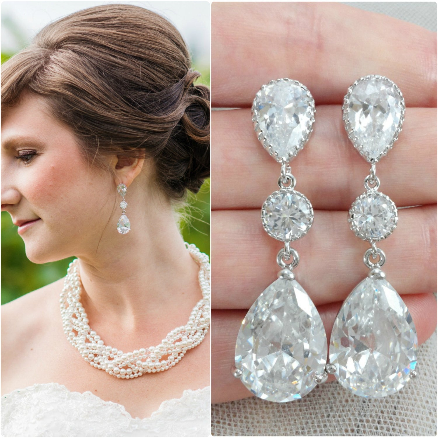 Cubic Zirconia Statement Earrings For A Wedding Dress