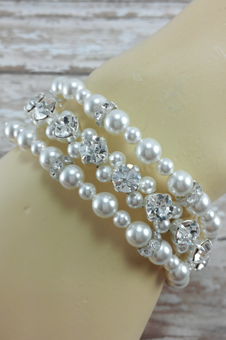 3 Strand Pearl And Crystal Cuff Bracelet For Weddings