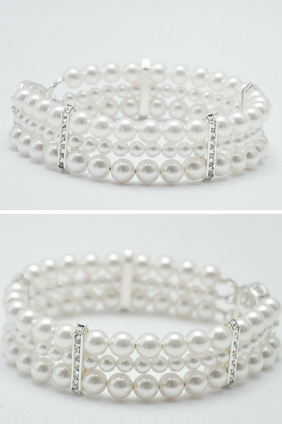 Multi Strand Pearl Bracelet To Match Wedding Dresses