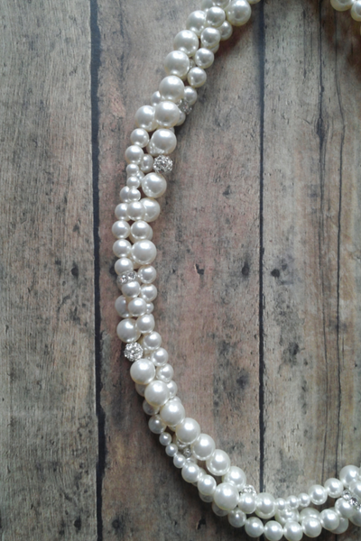 Bridal Twisted Pearl Necklace For A Sweetheart Neckline