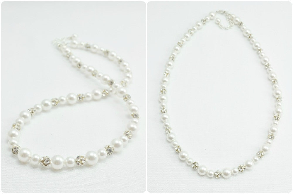 Pearl Rhinestone Necklace For A Strapless Wedding Dress
