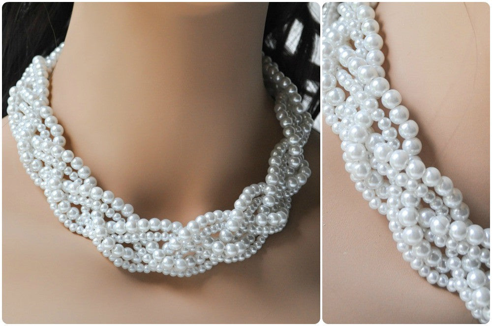 Braided Pearl Statement Necklace For A Sweetheart Dress