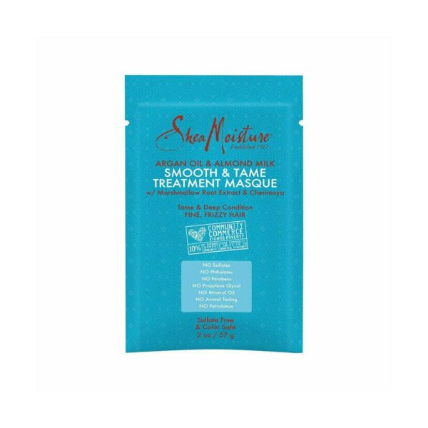 Shea Moisture Argan Oil And Almond Milk Smooth And Tame Treatment Masque Sachet.