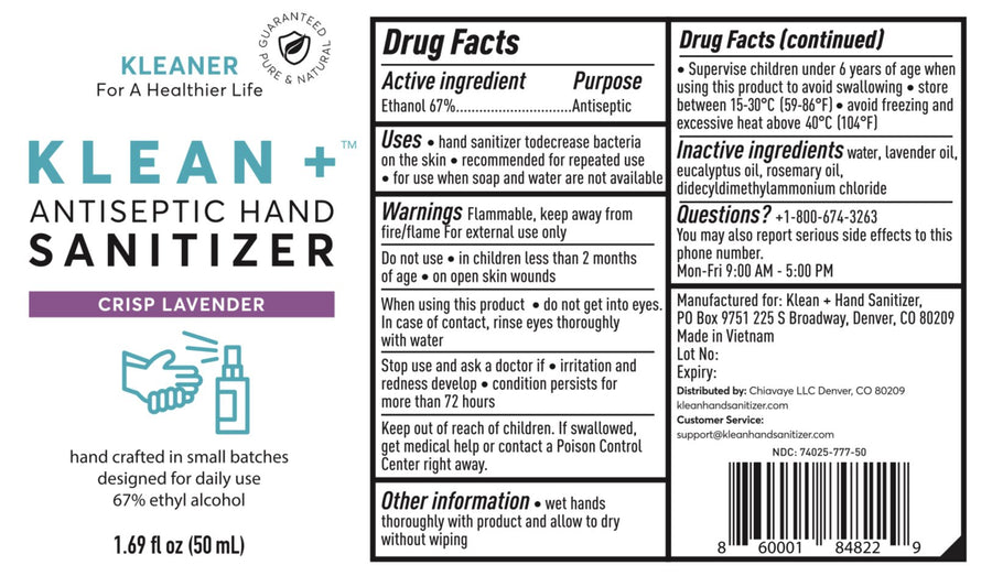 Klean+ Hand Sanitizer Crisp Lavender 50ml (6pack)