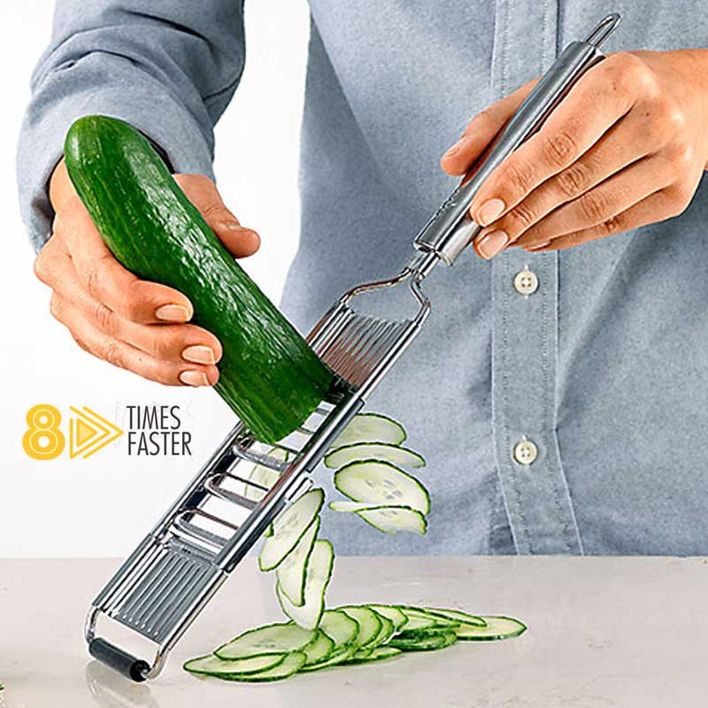 The Slicer is patented, German designed and manufactured. It has 8 super sharp, precise, stainless steel blades, which makes it the quickest and most precise slicer in the world. Designed perfectly to make tasks easier and quicker in your kitchen.
