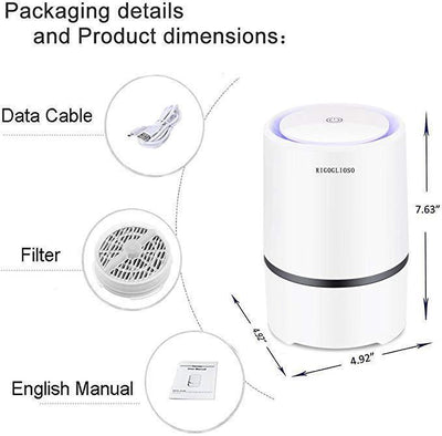 Air Purifier for Home with HEPA Filters, Night Light Desktop