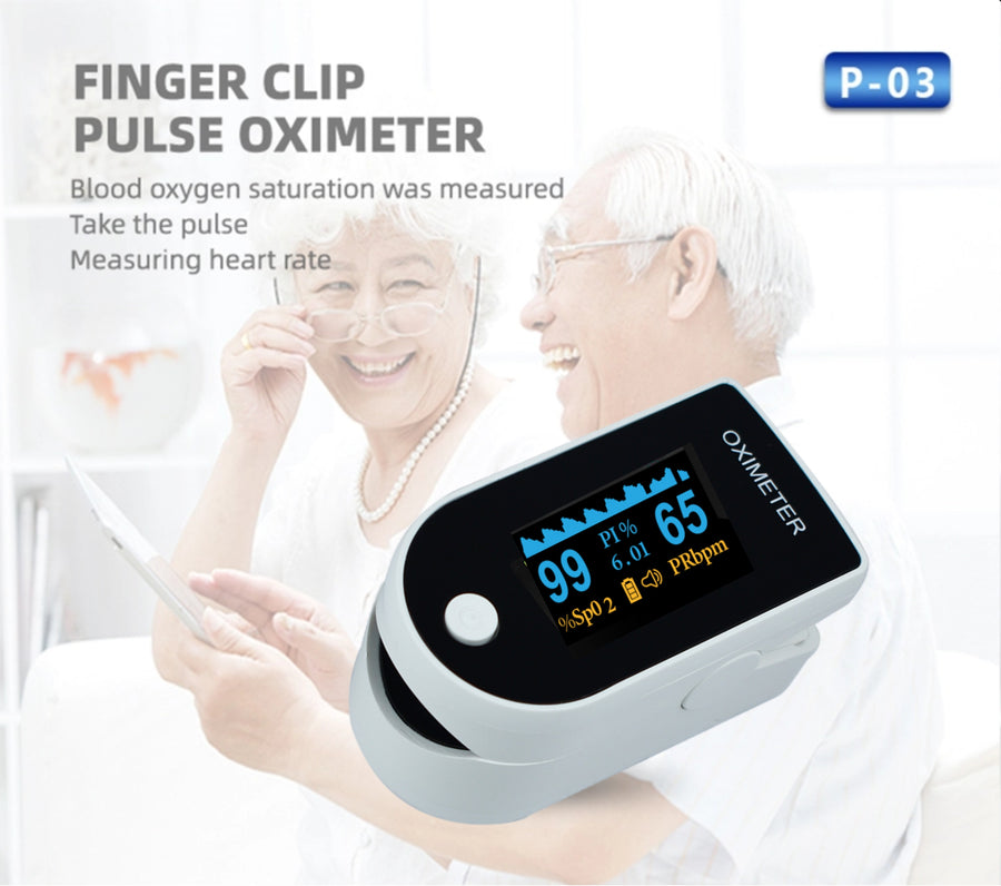 JN® Fingertip Pulse Oximeter (White) - Blood Oxygen SpO2 Monitor