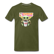 Baby Yoda Child Yoda Dunkin Donuts Men's Premium T-Shirt - olive green