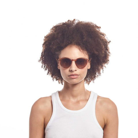 Aire Female Atom Tan Round Sunglasses