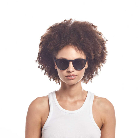Aire Uni-sex Nucleus Black Round Sunglasses