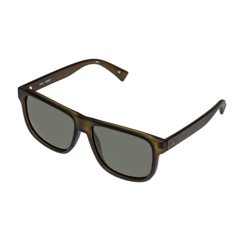 Aire Male Onyx Khaki Modern Rectangle Sunglasses