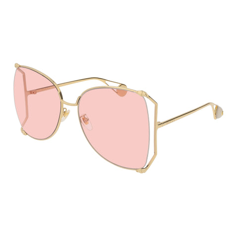 Gucci Female Gg0252s Gold Modern Rectangle Sunglasses