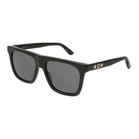 Gucci Female Gg0347s Black Modern Rectangle Sunglasses