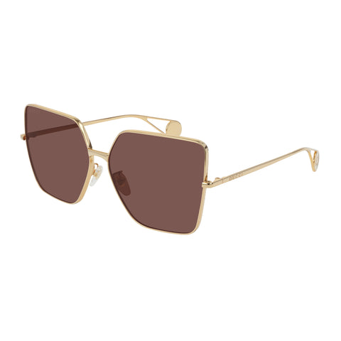 Gucci Female Gg0436s Gold Modern Rectangle Sunglasses