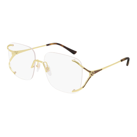 Gucci Female Gg0652o Gold Rectangle Optical Frames
