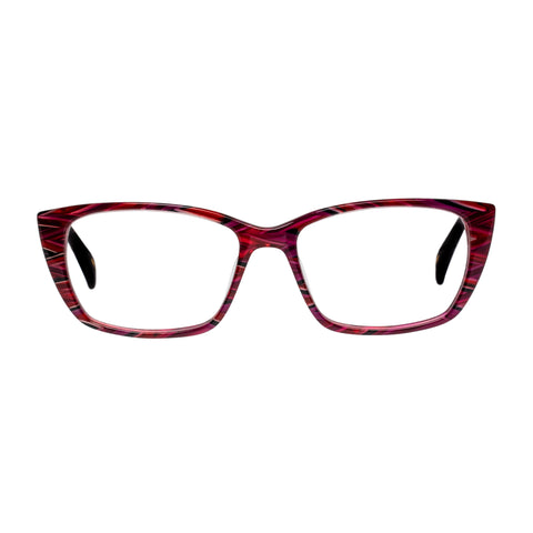 Jono Hennessy Female Twix Red Modern Rectangle Optical Frames