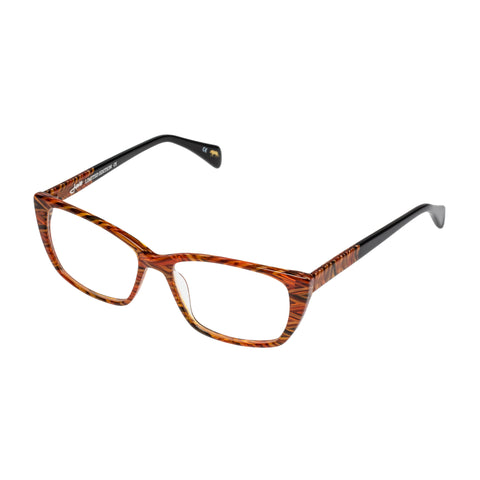 Jono Hennessy Female Twix Orange Modern Rectangle Optical Frames