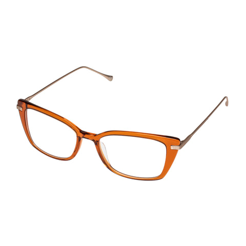 Jono Hennessy Female Banksia Orange Modern Rectangle Optical Frames