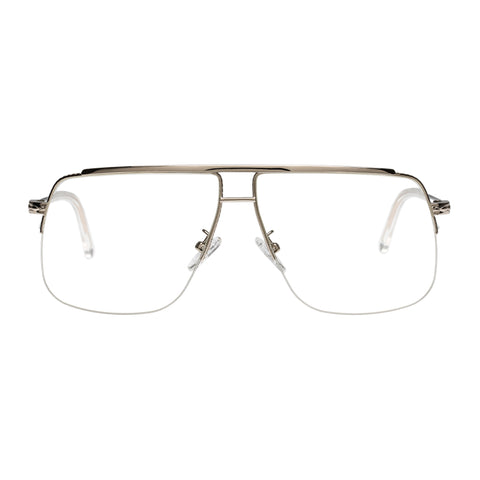 Karen Walker Uni-sex Melba Silver Aviator Optical Frames