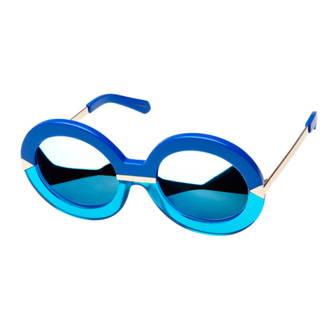 Karen Walker Female Hollywood Pool Blue Round Sunglasses