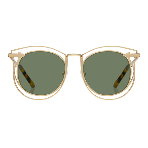 Karen Walker Female Simone Gold Round Sunglasses