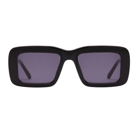 Karen Walker Female Admiral Boom Black Square Sunglasses