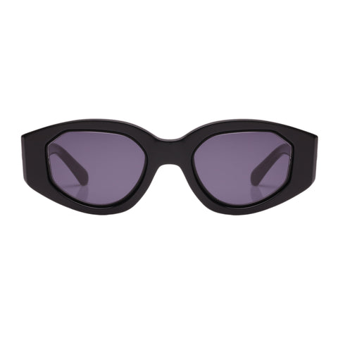 Karen Walker Female Castaway Black Oval Sunglasses