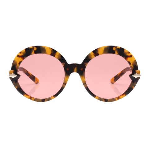Karen Walker Female Romancer Tort Round Sunglasses
