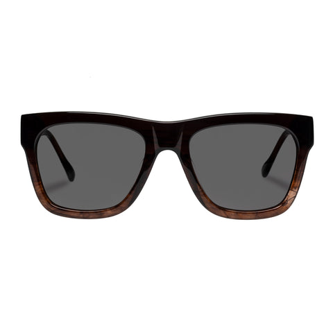 Le Specs Uni-sex Wrecking Ball Brown Modern Rectangle Sunglasses