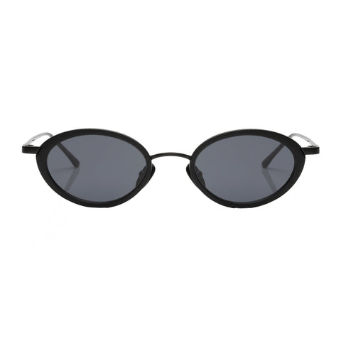 Le Specs Uni-sex Boom! Black Oval Sunglasses