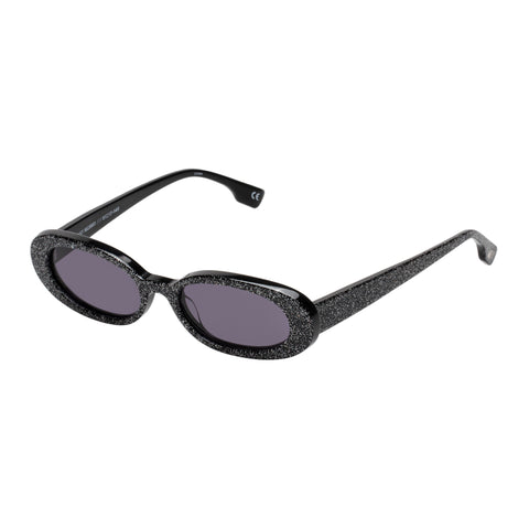 Le Specs Female Outcast X Nap Black Oval Sunglasses