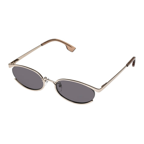 Le Specs Female Tres Solo Gold Oval Sunglasses