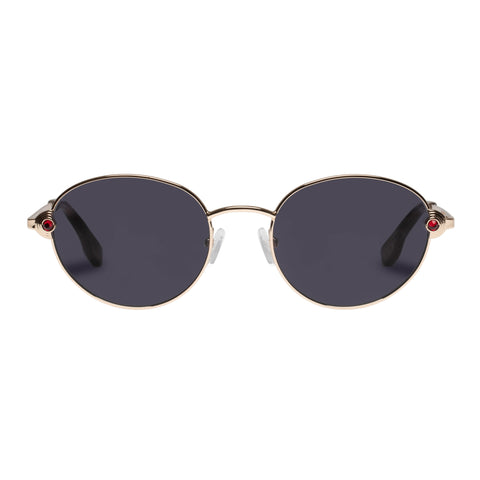 Le Specs Female Vamp Gold Round Sunglasses