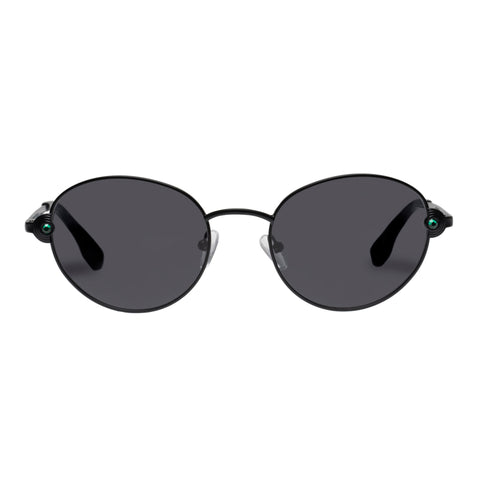 Le Specs Female Vamp Black Round Sunglasses
