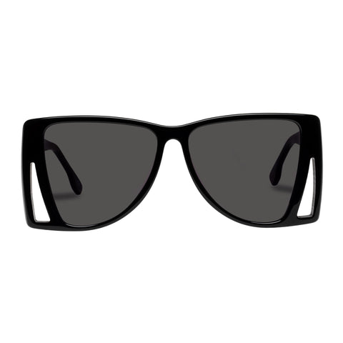 Le Specs Female Le Isosceles Black Square Sunglasses