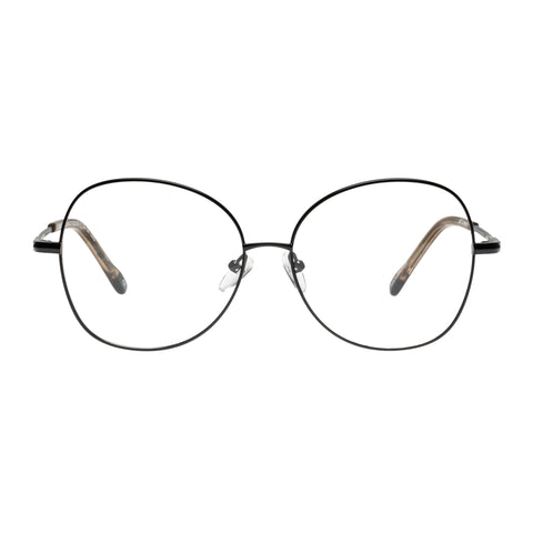 Le Specs Female Grand Entrance Black Round Optical Frames