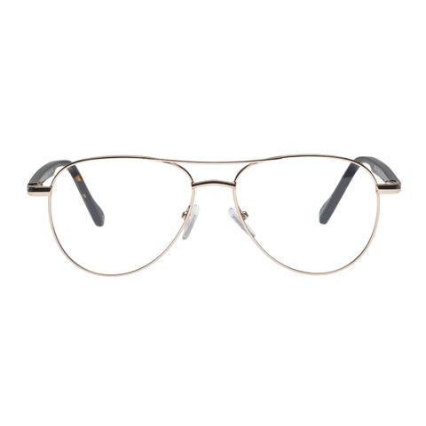 Le Specs Uni-sex House Party Gold Aviator Optical Frames