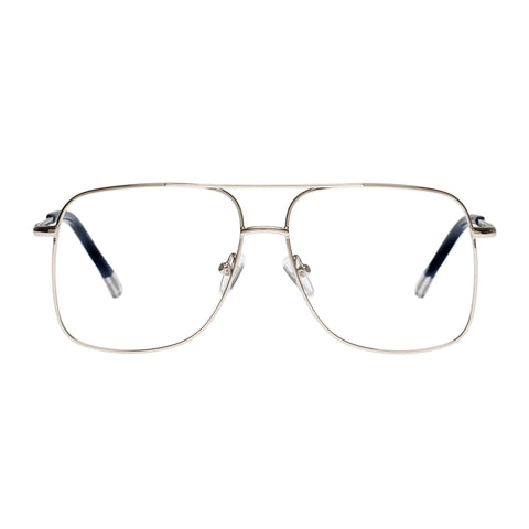 Le Specs Uni-sex Equilateral Silver Aviator Optical Frames