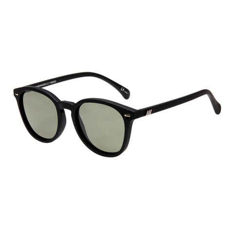 Le Specs Male Bandwagon Black Round Sunglasses