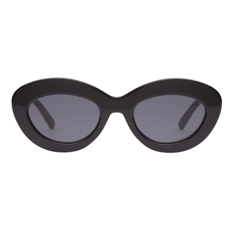 Le Specs Female Fluxus Black Oval Sunglasses