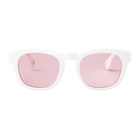 Le Specs Uni-sex Block Party White Modern Rectangle Sunglasses