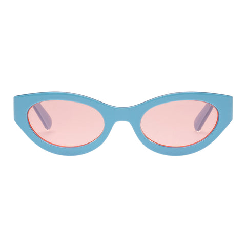 Le Specs Female Body Bumpin Blue Wrap Fashion Sunglasses