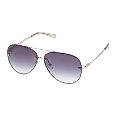 Le Specs Female Hyperspace Silver Aviator Sunglasses